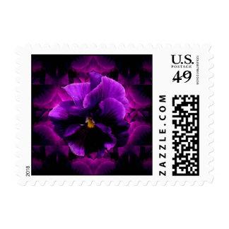 Purple Pansy Goth Art Postage Stamp