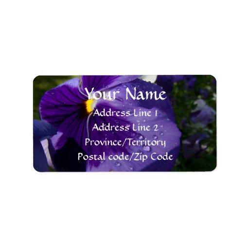 Purple Pansy Personalized Address Label