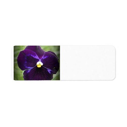 Purple Pansy Custom Return Address Label
