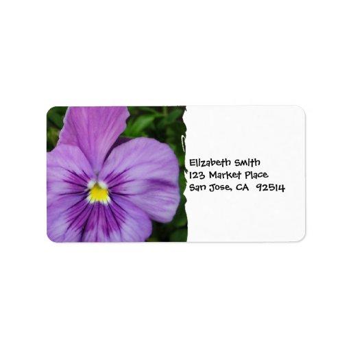 Purple Pansy Custom Address Label
