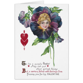 Purple Pansy Lady Vintage Valentine Card