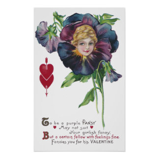 Purple Pansy Lady Vintage Valentine Posters