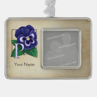 Purple Pansy Personalized Floral Monogram Ornament