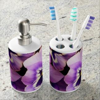 PURPLE PANSY TOOTHBRUSH HOLDER & SOAP DISPENSER