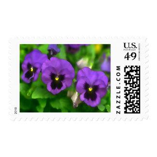 Purple Pansy Triplets Postage