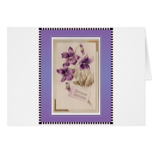 Purple Pansy Victorian Birthday Greetings Card