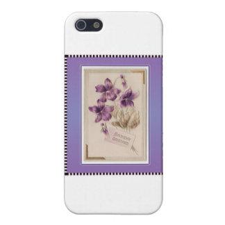 Purple Pansy Victorian Birthday Greetings iPhone SE/5/5s Case