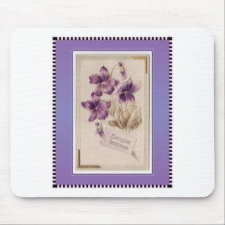 Purple Pansy Victorian Birthday Greetings Mouse Pad