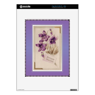 Purple Pansy Victorian Birthday Greetings Decals For iPad