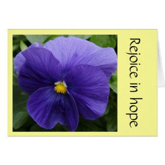Purple Pansy, w Scripture verse of Faith (Romans) Card
