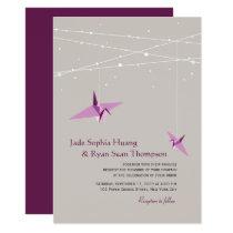 Purple Paper Cranes Fairy Lights Wedding Invite