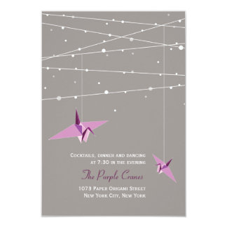 Purple Paper Cranes Fairy Lights Wedding Reception Card