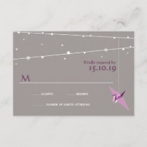 Purple Paper Cranes Fairy Lights Wedding RSVP