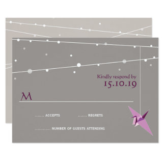 Purple Paper Cranes Fairy Lights Wedding RSVP Card