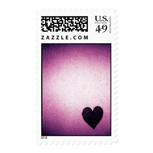 Purple paper heart stamp