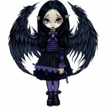art, fantasy, purple, violet, angel, gothic angel, heart, paper hearts, paper, hearts, lonely, gloomy, sad, wing, wings, feathers, black, dark, grey, gray, eye, eyes, big eye, big eyed, jasmine, becket-griffith, becket, griffith, jasmine becket-griffith, jasmin, strangeling, artist, goth, gothic, fairy, gothic fairy, faery, fairies, faerie, Photo Sculpture with custom graphic design
