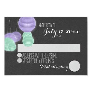 Purple Paper Lanterns Wedding Response Card
