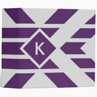 Purple Parallelogram Stripes on Gray with Monogram Binder