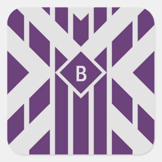 Purple Parallelogram Stripes on Gray with Monogram Square Sticker