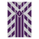 Purple Quadrangle Stripes on Grey with Monogram