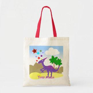 Purple Parasaurolophus Cartoon Dinosaur Bag/ Tote