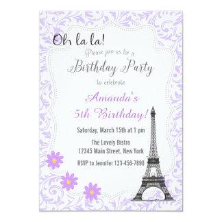 Purple Paris Romantic Birthday Invitation