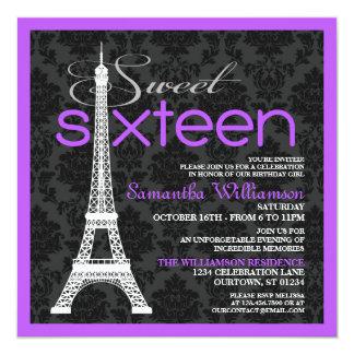 Purple Paris Sweet 16 Invitations