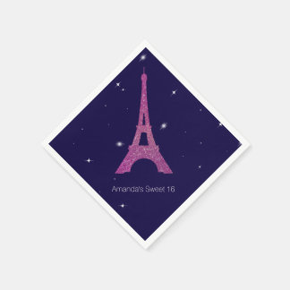 Purple Paris Theme Sweet 16 Birthday Napkins