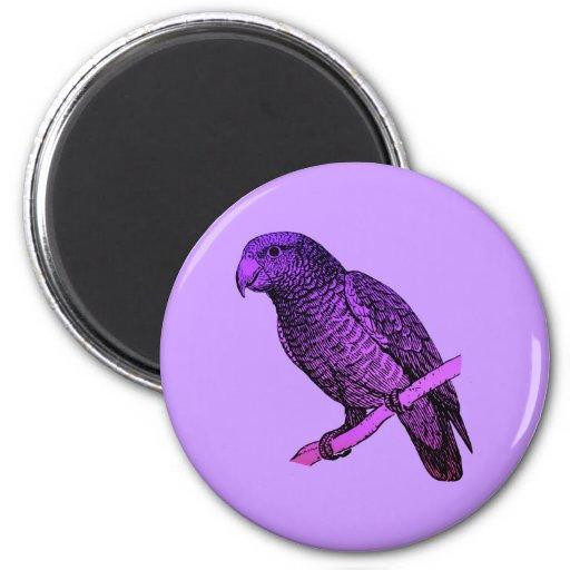 Purple Parrot 2 Inch Round Magnet