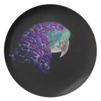 Purple Parrot Patio Plate
