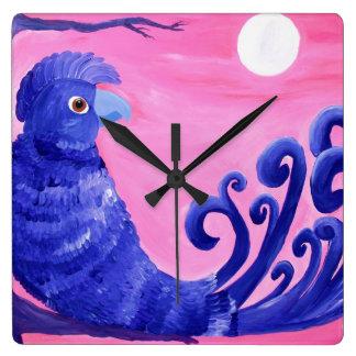 Purple Parrot Square Wall Clock