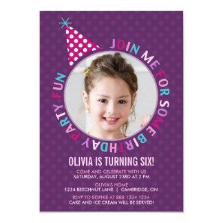 Purple Party Hat Kids Birthday Party Invitation