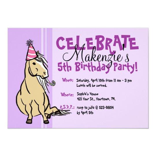 Purple Party Pony Girls Birthday Card