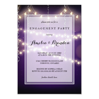 Purple Party Starry Lights Engagement Card