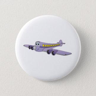 Purple Passenger Jet Cartoon Button