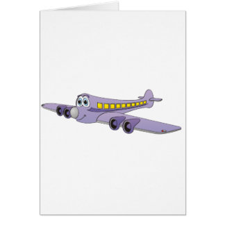 Purple Passenger Jet Cartoon Cards