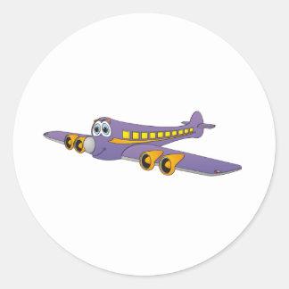 Purple Passenger Jet Cartoon Classic Round Sticker