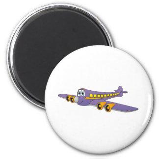 Purple Passenger Jet Cartoon Magnet