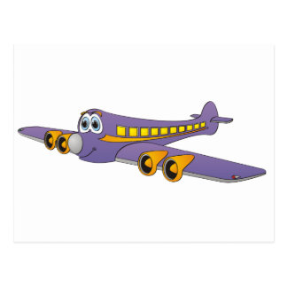 Purple Passenger Jet Cartoon Postcard