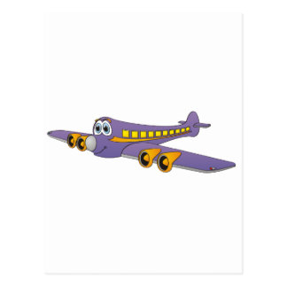 Purple Passenger Jet Cartoon Postcards