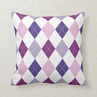 Purple Passion Argyle Two Pattern Reversible Throw Pillow