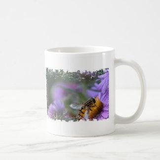 Purple Passion Bee Distressed Border Stein Classic White Coffee Mug