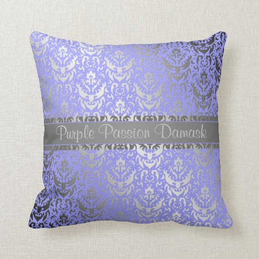 Purple Passion Damask Shimmer Effect Throw Pillows