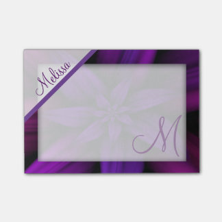 Purple Passion Floral Monogram Post-it Notes