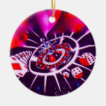 Purple Passion Gambling Double-Sided Ceramic Round Christmas Ornament