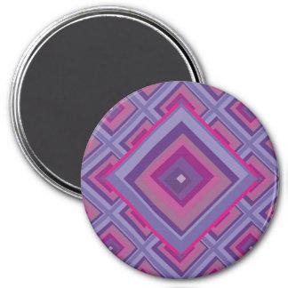purple passion lavender fields diamond pattern art 3 inch round magnet