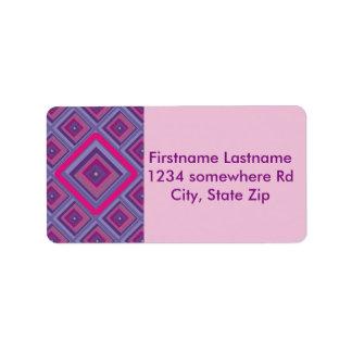 purple passion lavender fields diamond pattern art custom address labels