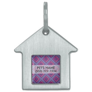 purple passion lavender fields diamond pattern art pet ID tags
