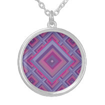 purple passion lavender fields diamond pattern art silver plated necklace
