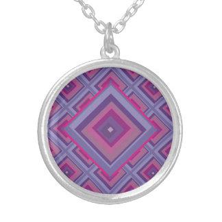 purple passion lavender fields diamond pattern art silver plated necklace